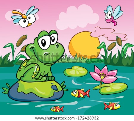 Frog in the swamp, vector illustration on a colored background