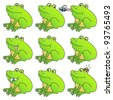 Frog mega set. Funny frogs with different expressions. Fully editable vector. - stock vector