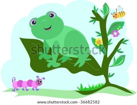 Frog on a Leaf with Caterpillar and Bee Vector