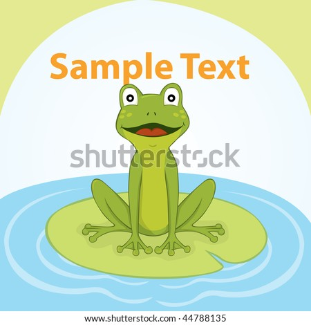 Frog on water - stock vector