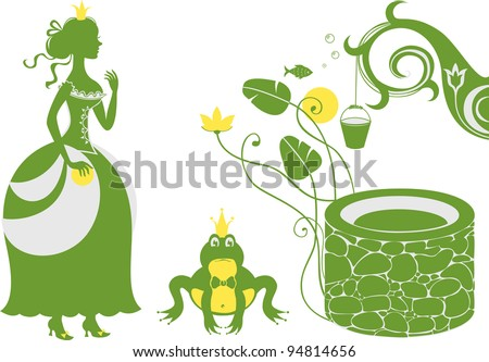 Frog Prince and Princess by the well - stock vector