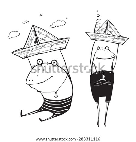 Frog Sailing Toy Paper Boats Outline Drawing. Fun childish hand drawn inky one color outline illustration for kids. - stock vector
