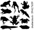 Frog Silhouettes - stock vector