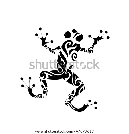 Frog tattoo - stock vector