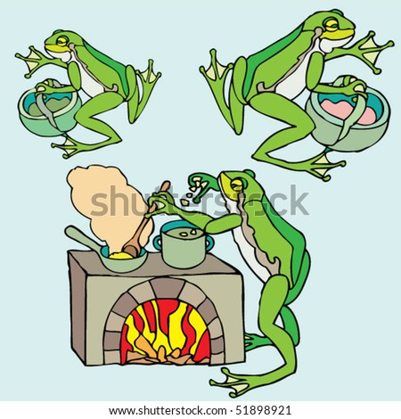 frogs cooking and shopping