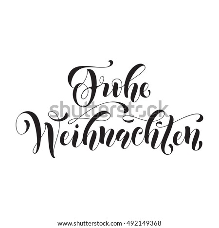 frohe weihnachten modern lettering design merry stock