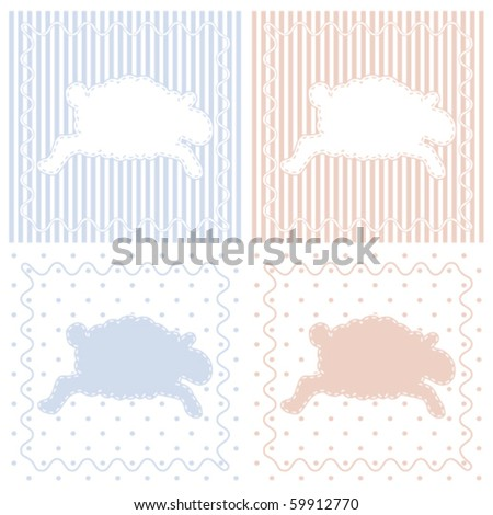 Frolicking Sheep Baby Note Cards This illustration is part of a set of three included in my Portfolio. - stock vector