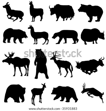 From around the world ferocious bear classes and they hunt herbivores - stock vector