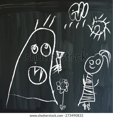 From series: Children's messages on a blackboard. Little horror under sadly Sky. Hand drawn white vector illustrations on blackboard. Editable. - stock vector