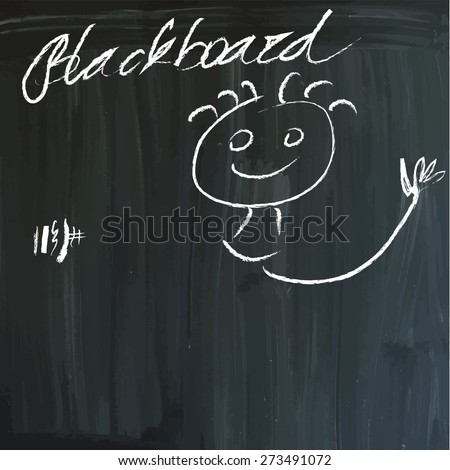 From series: Children's messages on a blackboard. Waving hands (End of School - Holidays start). Hand drawn white vector illustrations on blackboard. Editable. - stock vector