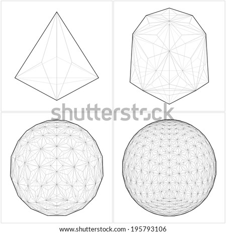 From Tetrahedron To The Ball Sphere Lines Vector 38 - stock vector