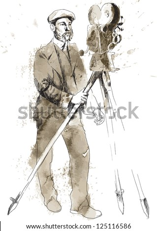 From the film history: Man behind the camera. /// Vintage (in the grunge-retro style). Drawing converted into vector. Editable - 5 layers - stock vector