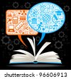 from the opened book fly speech bubbles with icons on the topic of education - stock vector