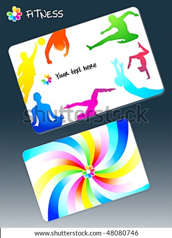Front and back design for fitness club business card - stock vector