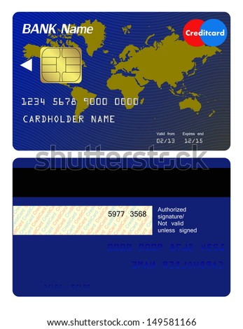 Front and back of credit card - stock vector