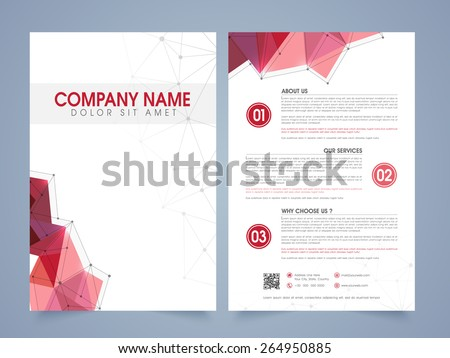 Front Back Page Presentation Professional Flyer Stock Vector