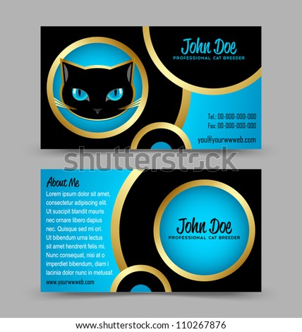 Front and back side of cat head theme business card isolated on grey background - stock vector