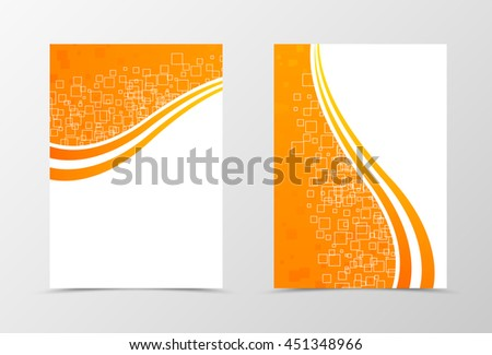 Front and back technologic wave flyer template design. Abstract template with orange lines and digital dynamic mosaic square background. Vector illustration - stock vector