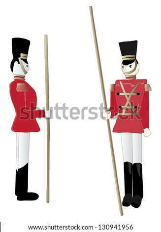 Front and side view of red and gold toy soldiers - stock vector