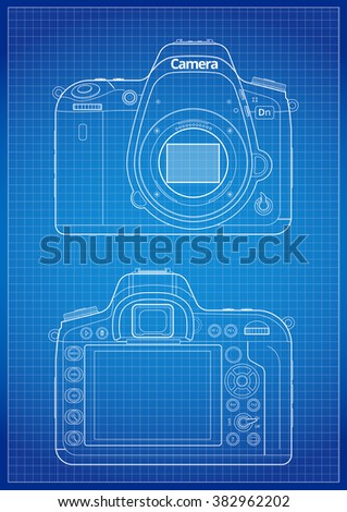 Line art illustration front bayonet matrix vectores en stock front back and matrix with open bayonet of slr camera blueprint lines with grid malvernweather Images