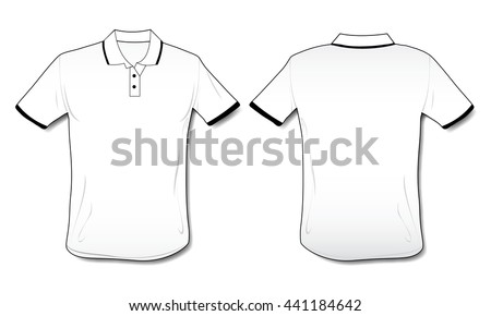 Front, back and side views of blank polo shirt