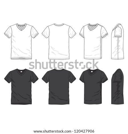 Front, back and side views of blank t-shirt - stock vector