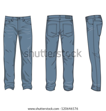 Front, back and side views of men's jeans - stock vector