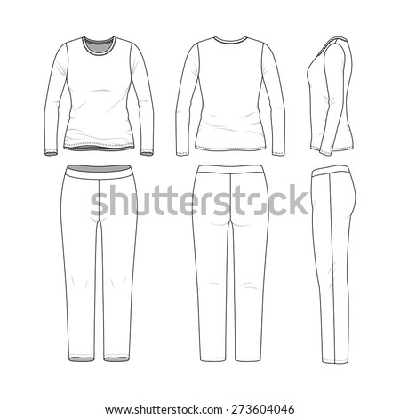 front back and side views of women 39 s clothing set blank templates of