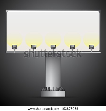 front billboard line drawing in the night vector illustration - stock vector