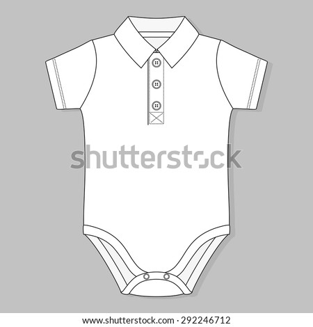 front button placket collar baby bodysuit flat sketch template isolated on grey background - stock vector