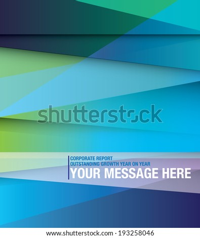Front cover for abstract style business report, blues and gradient - stock vector