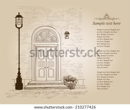 Front door European house. Elegant London townhouse. Vintage style background with copy space  - stock vector