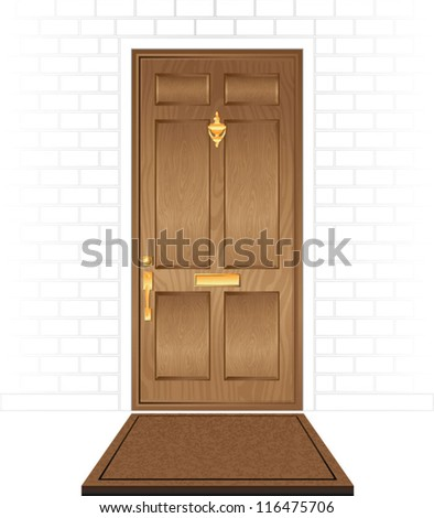 Front Door of House with Mat - stock vector