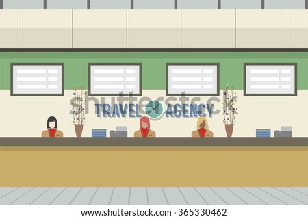 Front Of Travel Agency Counter Vector Illustration