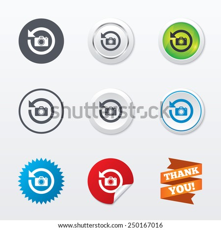 Front photo camera sign icon. Digital photo camera symbol. Change front to back. Circle concept buttons. Metal edging. Star and label sticker. Vector