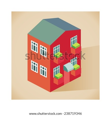 front side Apartment vector isometric style - stock vector