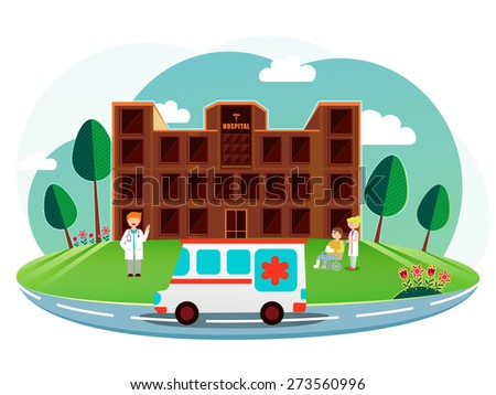 Front side view of a brown hospital with cartoon illustration of a doctor, nurse, patient and ambulance on nature background. - stock vector