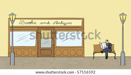 Front view of a bookstore in vector format. - stock vector