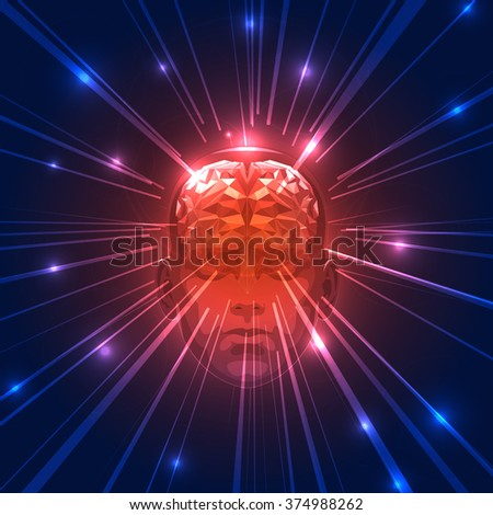Front View of Abstract Human Head with a Brain. - stock vector