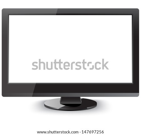 Front view of an isolated  LCD television  - stock vector