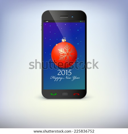 Front view of christmas phone isolated. New Year symbols in smartphone . Illustration for new year's day, christmas, winter holiday, new year's eve, technology, communication. - stock vector