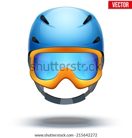 Front view of Classic blue Ski helmet and orange snowboard goggles. Winter mountain vacation. Vector isolated on white background - stock vector