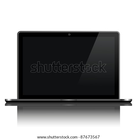 Front view of laptop on white - stock vector