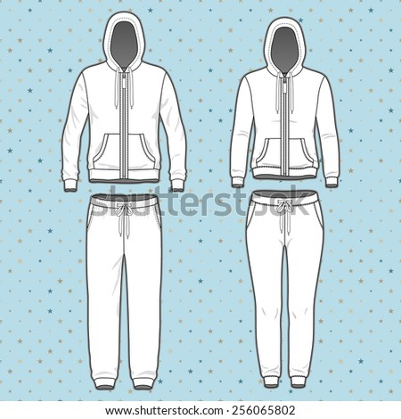Front view of men's and women's clothing set. Blank templates of hoodi  with zipper and sweatpants. Sport style. Vector illustration on the spotted background for your fashion design.  - stock vector