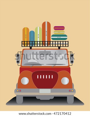 Front view of Old Pick up Truck Vector Illustration