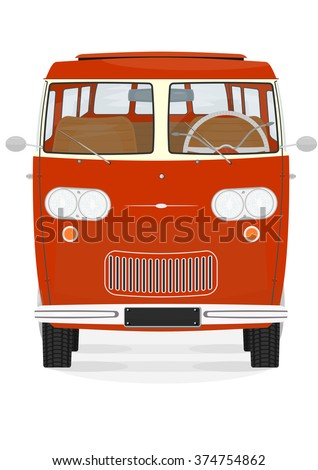 Front view of retro cartoon van on the white background. Vector.