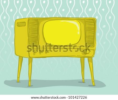 Front view of vintage TV with blank-screen on old paper background - stock vector
