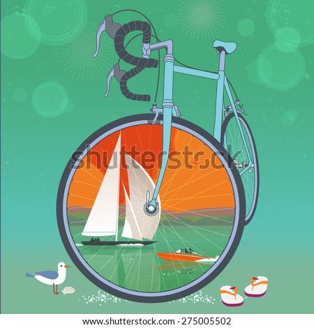 Front wheel of bicycle is a picture frame for colorful summer waterfront scenery with sailboat and speed boat. Seagull bird and flip flops sandals on sand. Summer vacation concept. Illustration. - stock vector