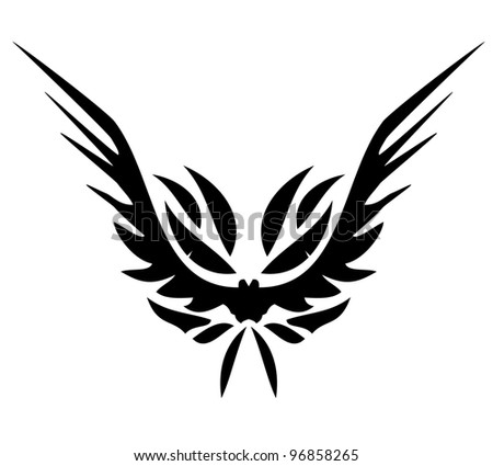 front wings of an eagle tattoo vector - stock vector