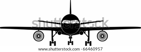 frontal view of a jet aircraft - stock vector